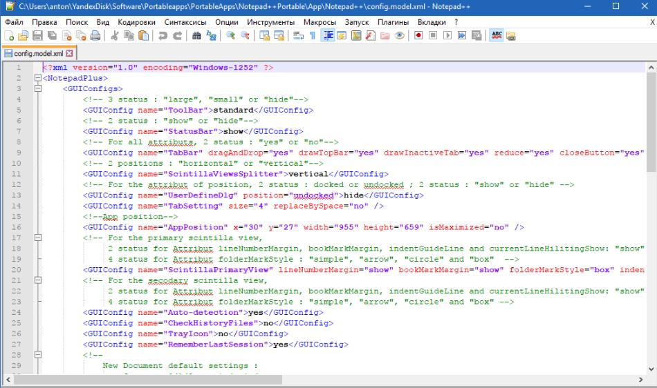 Notepad++ рабочая область